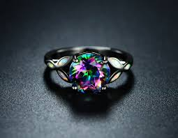 fire rings jewelry images Black rhodium plated 4cctw round cut rainbow topaz fire opal JPG