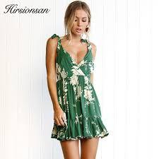 sun dress hirsionsan bohemian dress 2017 summer women sundress v