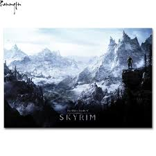 popular skyrim poster buy cheap skyrim poster lots from china zp92 the elder scrolls v skyrim hot video game custom art print poster silk light canvas painting for home decor wall picture