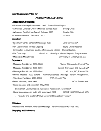 Massage Therapy Resume Samples by Brief Curriculum Vitae For Andrew Wolfe Massage Therapist