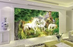 chambre cheval fille papier peint fantaisie sur mesure les licornes dans le jardin