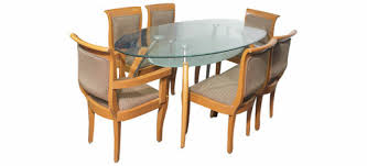 used wood dining table used wooden dining table with glass top table at rs 8500 6 seater