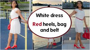crossdresser white dress and red heels heels and bag natcrys
