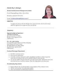 sample resume for hotel and restaurant management graduate best