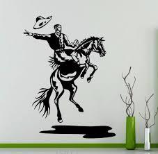 online get cheap western horse wall murals aliexpress com rodeo wall decal cowboy retro poster horse vinyl sticker home interior decoration wild western art mural