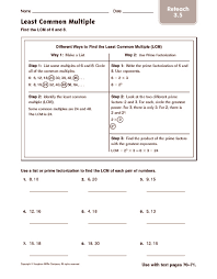 least common multiple reteach 5th 6th grade worksheet lesson