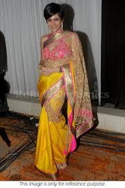 bollywood style mandira bedi net and joya silk saree in pink and