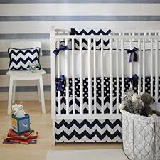 Zig Zag Crib Bedding Set Zig Zag 3 Crib Bedding Set In Navy Nursery