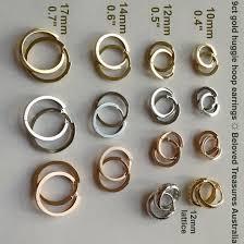 huggie hoop earrings 9ct 9kt gold huggie hoop earrings italy diameter 10 mm to 17 mm