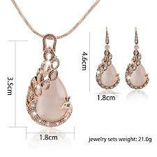 rose gold necklace earrings images Peacock jewelry set rose gold pendant necklace earring set buy jpg