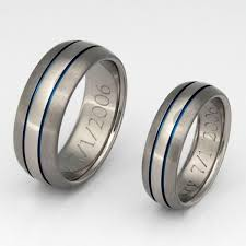 blue titanium wedding band matching blue titanium ring set stb4 titanium rings studio