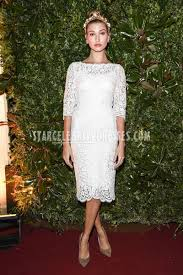 white lace dress with sleeves knee length hailey baldwin milan fashion week 2016 ivory knee length prom