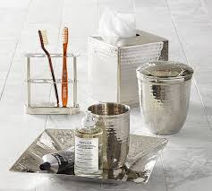 hammered nickel bath accessories pottery barn