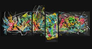 Toiles Contemporaines Design Tableau Abstrait Quadriptyque Peinture Design Flashy