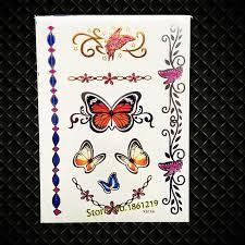 fashion henna butterfly designs flash metallic temporary