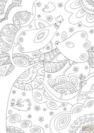 trees and birds coloring page free printable coloring pages