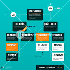 modern organizational chart template on turquoise background