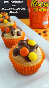 reese s halloween reese u0027s pieces cupcakes with chocolate peanut butter ganache