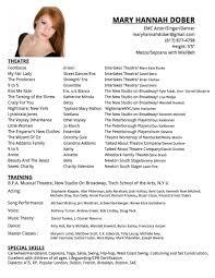 Actor Resume Special Skills Mary Hannah Dober Resume U2014 Mary Hannah Dober