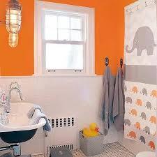 gray and orange kid bathroom design ideas