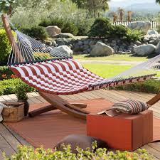 island bay comfort weave double hammock with wood arc stand