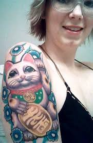 tattoo cat neko my maneki neko or also known as the japanese lucky cat done at truel