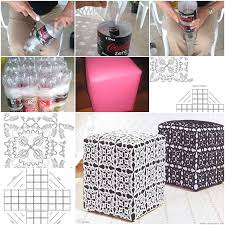 How To Make An Ottoman Out Of A Coffee Table How To Make Ottoman Out Of Plastic Water Bottles Step By Step Diy