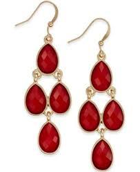 Red Chandelier Earrings Style U0026 Co Gold Tone Red Stone Chandelier Earrings Only At