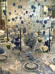 christmas party table decorations by blue white hanging balls on f