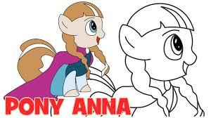 draw pony anna frozen step step easy drawing kids
