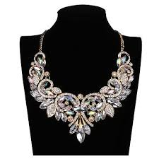 big crystal statement necklace images Shiny rainbow crystal flower choker big statement necklace collar jpg