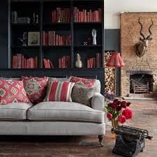 Tropical Upholstery Red Black Cream Living Room Asian With Exposed Brick Rustic
