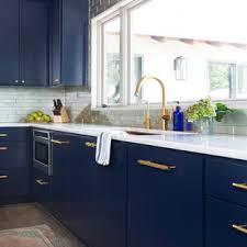 houzz blue kitchen cabinets 75 beautiful blue kitchen with metallic backsplash pictures
