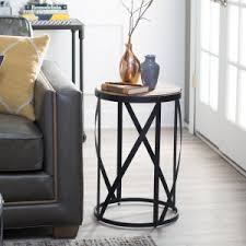 iron and wood side table distressed industrial style end tables and side tables hayneedle