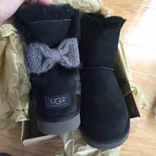 ugg bailey bow sale size 7 54 ugg shoes ugg authentc mini bailey knit bow black boots