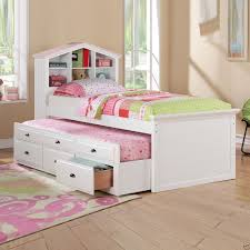 kids white bookcase f9223 white kids girls bookcase twin bed storage trundle drawers