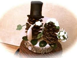 fall wedding cake toppers pine cone wedding topper groom rustic fall weddings