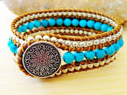 leather cuff wrap bracelet images Turquoise leather wrap bracelet cuff 3 row beaded tribal bohemian jpg