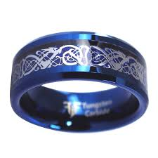 blue tungsten rings images Blue celtic dragon tungsten ring viking jewelry jpg
