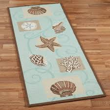 Aqua Runner Rug Home Sea Shell Hooked Wool Runner Rugs Torquoise Lagoon