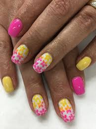 summer bright neon pink u0026 yellow two tone ombré stamped flowers