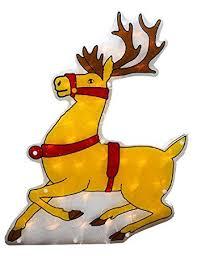 Christmas Window Decorations Amazon by Amazon Com Sienna Lighted Shimmering Reindeer Christmas Window