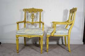 French Yellow Chair Set Of 6 Yellow Painted French Regency Style Carved Dining Room