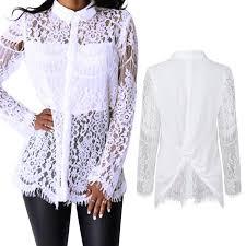 white lace blouses fashion chiffon blouse charm backless hollow patchwork white lace