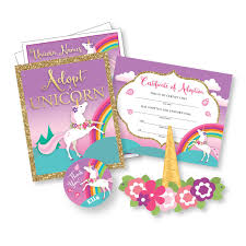 adopt unicorn party kit certificate adoption sign