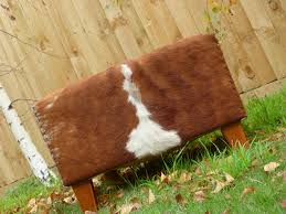 furniture cowhide ottoman with brown legs on grass