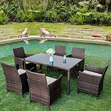 Dining Table With Rattan Chairs Amazon Com Merax 7 Piece Outdoor Wicker Dining Set Dining Table