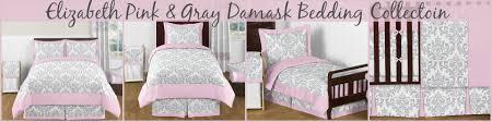 Damask Crib Bedding Sets Elizabeth Pink And Gray Damask Baby And Bedding