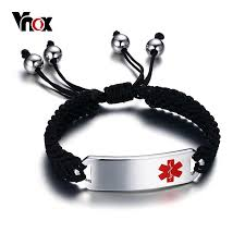 braided charm bracelet images Medical braided charm bracelet id stainless steel emergency alert jpg