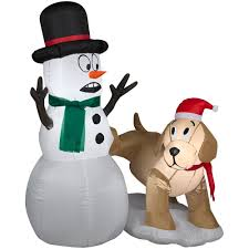Outdoor Lighted Snowman Decorations by Amazon Com 4 Ft Tall Snowman And Dog With Led Lights Christmas